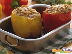 Peperoni ripieni di ricotta, melanzane e pinoli