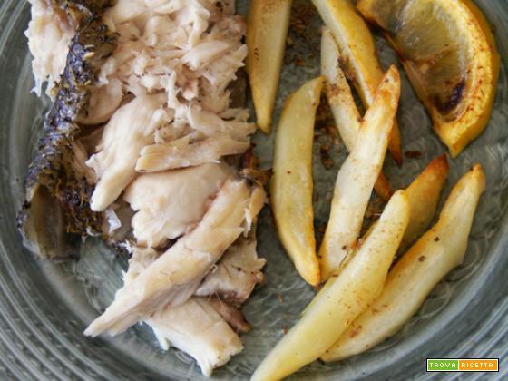 Ombrina al forno con patate al limone e acciughe