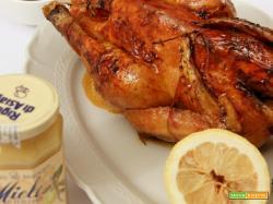 faraona al forno con miele al limone e agrumi