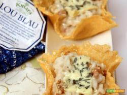 fattorie fiandino: risotto al lou blau, mascarpone e noci in cestini di gran kinara