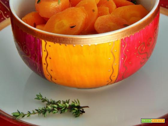 carote glassate al miele, limone e timo