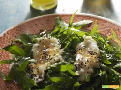 Un' insalata con accento franco-orientale, con citronette al wasabi e gelée di champagne