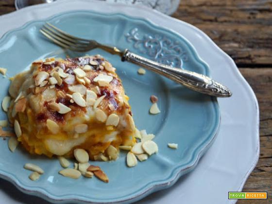 Lasagne alla zucca, Gruyère e mandorle tostate