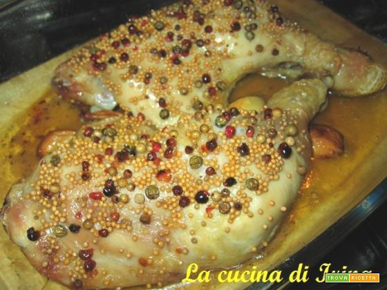 Cosce di pollo al pepe e semi di senape