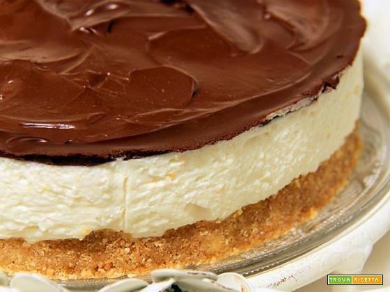 cheesecake all'arancia e ganache fondente