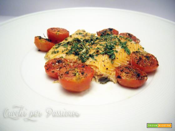 Filetto di Trota Salmonata al forno con Pomodorini