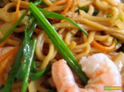 Bimby, Spaghetti di Soia con Verdure, Funghi e Gamberetti