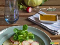 Carpaccio di cavolo rapa e ravanelli con salsa alle acciughe