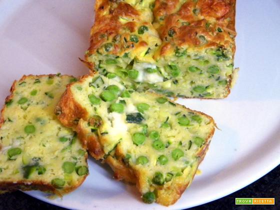 Plumcake salato con piselli e zucchine