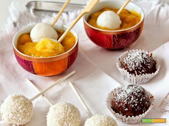 bon bon di riso al latte di cocco, cioccolato e zuppetta di mango speziata