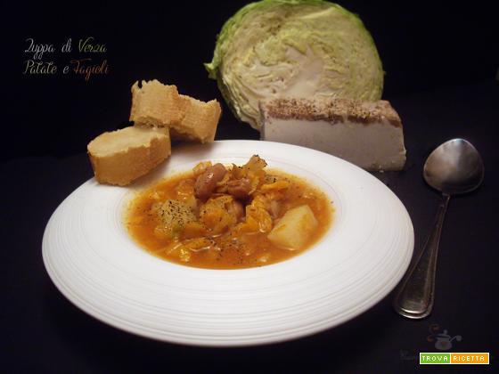 Zuppa di Verza, Patate e Fagioli