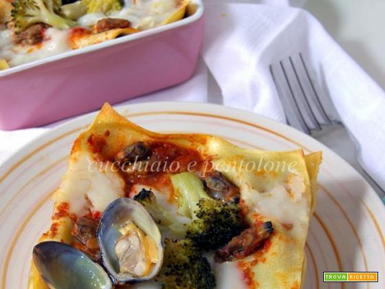 lasagne ai broccoli e vongole e le loro vellutate