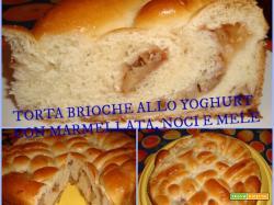 TORTA BRIOCHE ALLO YOGHURT CON MARMELLATA, NOCI E MELE - passo a passo