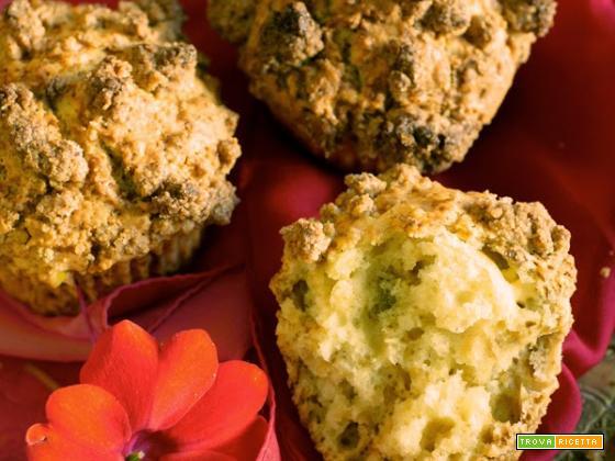 Muffins da Mille e una Notte: allo zafferano e pistacchio, con streusel di ceci profumato alla rosa