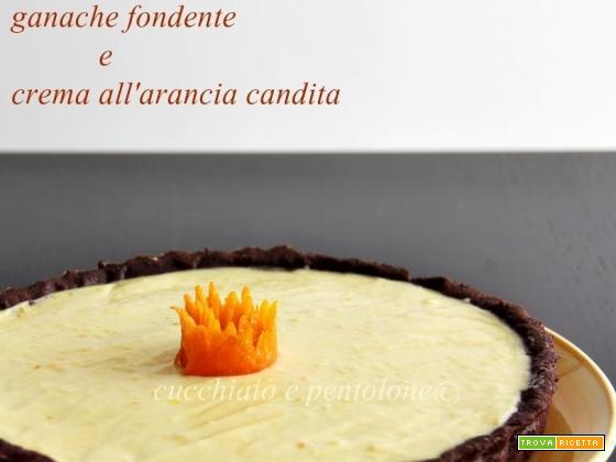 crostata al cacao con ganache e crema all'arancia candita