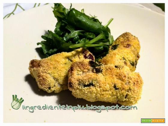 Crocchette di patate al forno con fagiolini e cipolla rossa