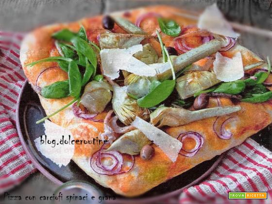 Pizza Ortolana con Carciofi Spinaci e Grana