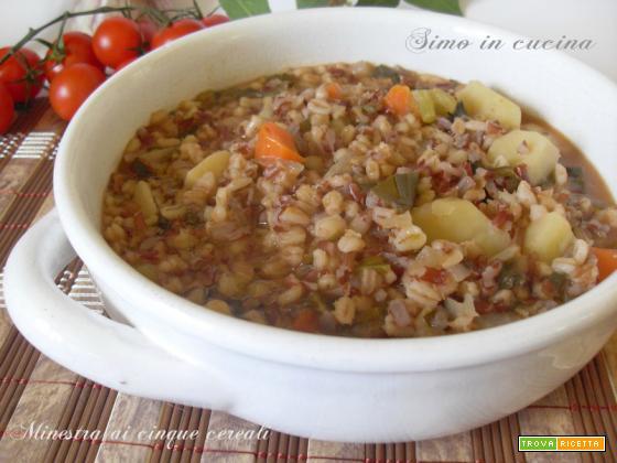 Minestra ai cinque cereali con verdure
