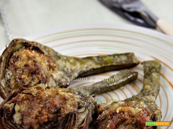 carciofi e verze al forno ripieni di carne e funghi