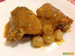 Pollo alla senape con paprika e cipolline
