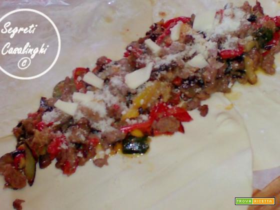 rotolo pasta sfoglia verdure salsiccia