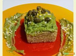 Quinoa con crema di broccolo al mandarino, con capperi e mandorle