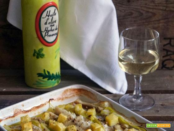Merluzzo al forno con porri e patate