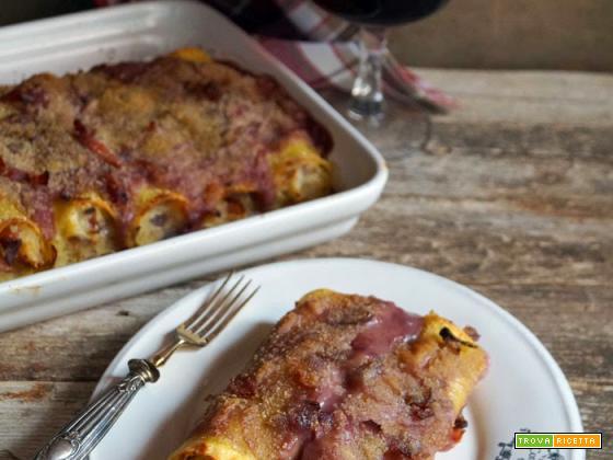 Cannelloni con speck e patate e besciamella al vino rosso (senza latte)