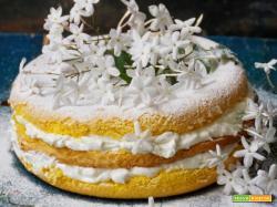 Torta del mio giardino (pan di spagna con crema di labne infusa al gelsomino)