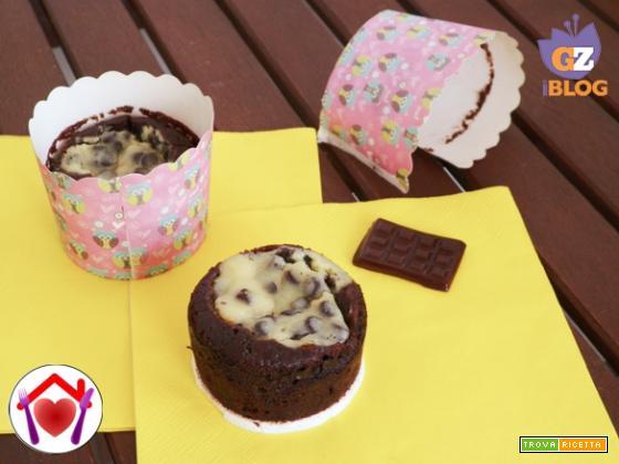 Muffin al cacao con cuore di formaggio