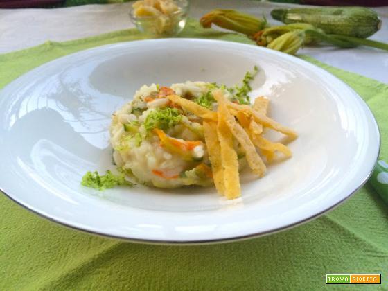 Risotto al doppio Parmigiano e lime con zucchine e i loro fiori