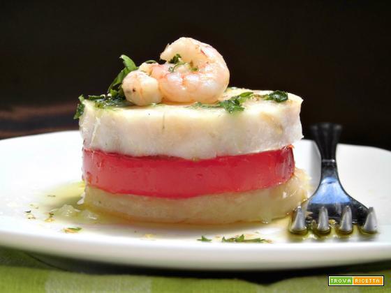 Torrette di merluzzo con patate e pomodori