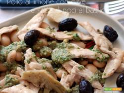 Pollo al limone con olive e salsa di noci al basilico