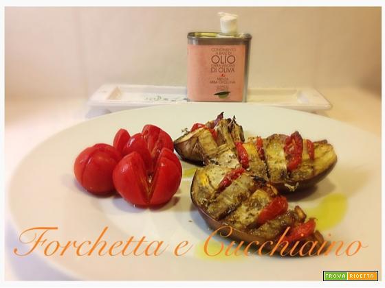 Barchette di melanzane al forno con olio Corrias alla menta e erba cipollina