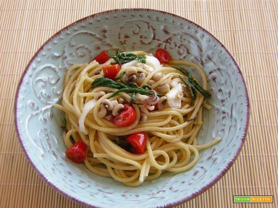 Spaghetti con asparagi di mare