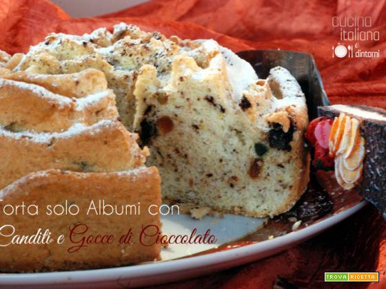 Torta solo albumi con canditi e gocce di cioccolato