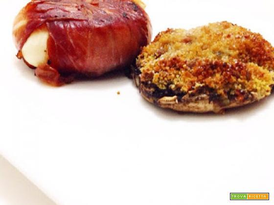 Tomino tartufato e speck con fungo al gratin