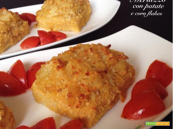 Merluzzo con patate e corn flakes