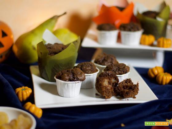Muffin al cacao, con pere e zenzero
