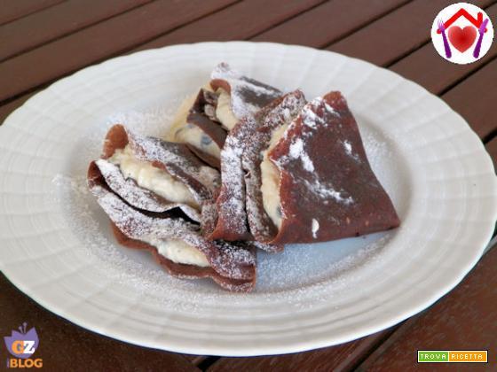 Crèpes al cacao con ricotta, cocco e gocce di cioccolato