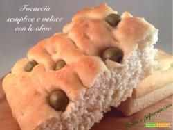 Focaccia semplice e veloce con le olive
