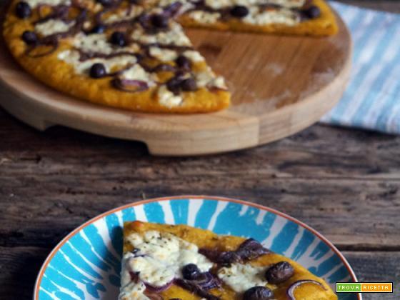 Focaccia di zucca e Kamut con crescenza, acciughe e olive taggiasche
