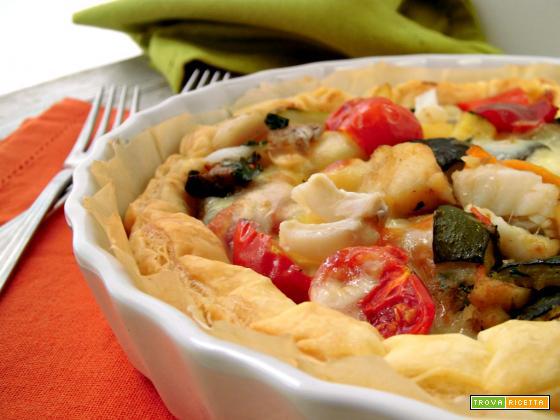 Torta salata con baccalà e verdure