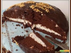 Torta cioccolato ripiena di crema caffè senza uova senza lattosio