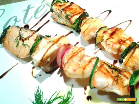 Spiedini di pesce alla griglia ricetta for Spiedini di pesce gratinati