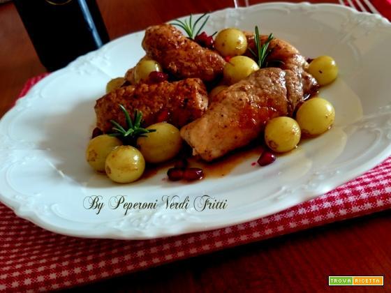 Involtini di lonza di maiale con miele uva e melagrana