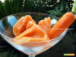 Sorbetto alla carota con limoncello e ricordo di vaniglia del Madagascar