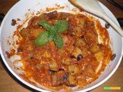 Dadi di melenzane con mozzarella e pomodoro
