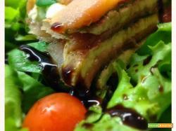 Millesfoglie di salmone, bufala e spinacino