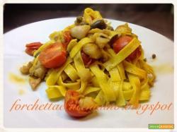 Tagliatelle con cernia olive e capperi di Pantelleria